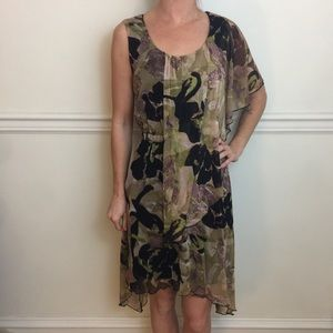 NWT BCBGMAXAZRIA Printed Mesh Asymmetrical Dress